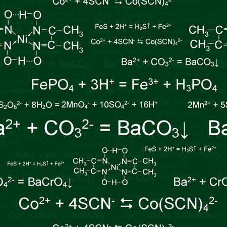 Seamlessly wallpaper chemistry scribbles on green blackboard