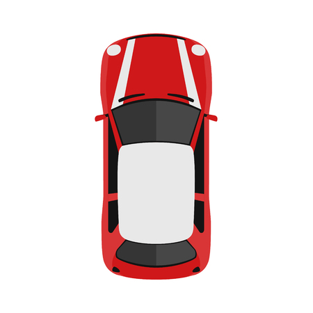Ilustración de Car from above, top view. Cute cartoon car with shadows. Modern urban civilian vehicle. English style. Simple icon or logo. Realistic design. Flat style vector illustration. - Imagen libre de derechos