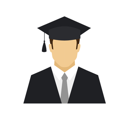 Graduation student avatar icon. Profession logo. Male character. A man in graduate cap and mantle. People specialists. Flat simple vector illustration.