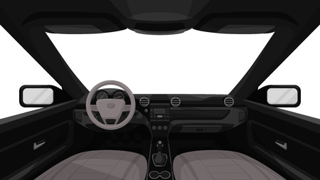 Illustration pour Car salon. View from inside of vehicle. Dashboard front panel. Driver view. Simple cartoon design. Realistic car interior. Flat style vector illustration. - image libre de droit