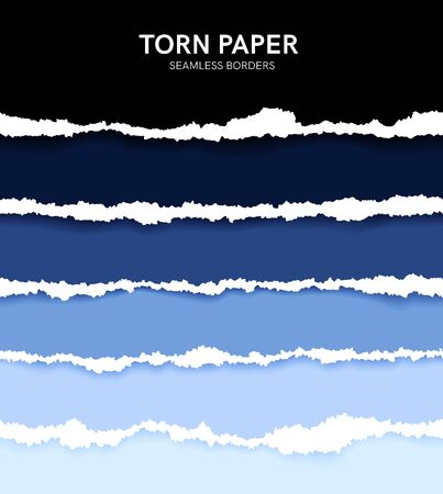 Illustration for Seamless torn ripped paper layered isolated. Blue color. Transparent background. Realistic template. Simple modern design. Flat style vector illustration. - Royalty Free Image