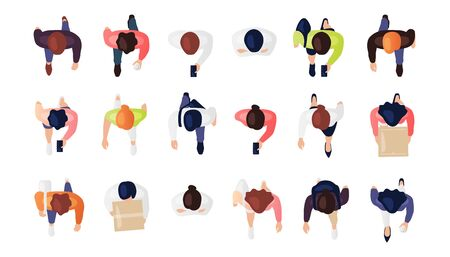 Illustration pour Top view of people set isolated on a white background. Men and women. View from above. Male and female characters. Simple flat cartoon design. Realistic vector illustration. - image libre de droit