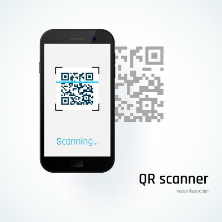 Ilustración de QR scanner. Mobile scans QR code. Vector illustration - Imagen libre de derechos