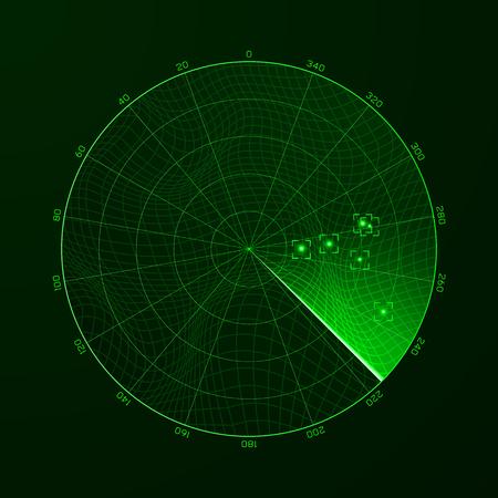 Illustration pour Radar. Blip. Detection of objects on the radar. Vector illustration - image libre de droit