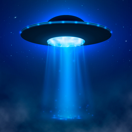 Illustration pour UFO. Alien spacecraft with light beam and fog. UFO Vector Illustration - image libre de droit