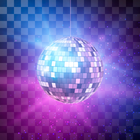 Ilustración de Disco ball with bright rays on transparent background, night party retro background. Vector illustration - Imagen libre de derechos
