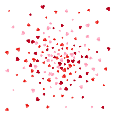 Illustration pour Red and pink scatter paper hearts confetti. Vector illustration isolated on white background - image libre de droit