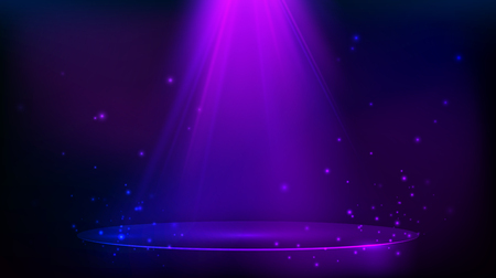 Illustration pour Scene illuminated with purple light. Magic party background with glitter particles. Vector illustration - image libre de droit