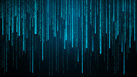 Illustration pour Blue numbers stream. Cyberspace with falling digital lines. Abstract matrix background Vector illustration - image libre de droit