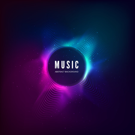 Photo pour Radial sound wave curve with light particles. Colorful equalizer visualisation. Abstract colorful cover for music poster and banner. Vector illustration background - image libre de droit