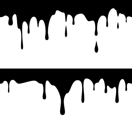 Illustration for Seamless horizontal black ink runs. Dripping Paint. Liquid Drips. Vector illustration - Royalty Free Image