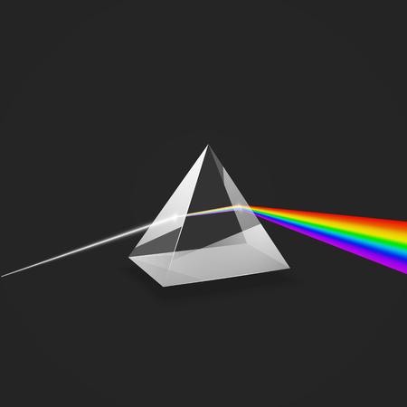 Illustration pour Dispersion. Colorful spectrum of light. Glass prism and beam of light. Science experiment with light. Vector illustration - image libre de droit