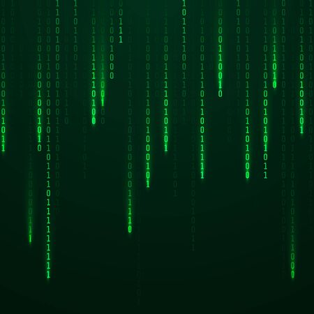 Illustration for Matrix. Stream of binary code on screen. Falling random numbers. Data and technology. Vector illustration - Royalty Free Image