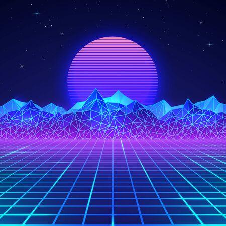 Photo pour Futuristic retro landscape of the 80`s in neon colors. Sun with mountains in retro style. Digital retro cyber surface. Vector illustration - image libre de droit