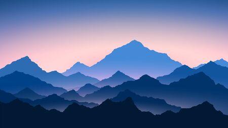 Illustration pour Sunrise in mountains. Colour mountains landscape. Hiking - morning view. Vector background - image libre de droit