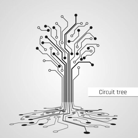 Illustration for Abstract Circuit Tree. Technology design element. Computer engineering hardware system. Vector - Royalty Free Image