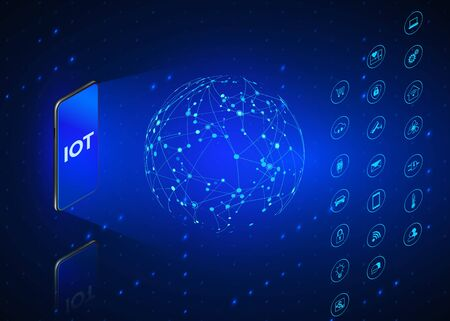 Illustration pour IOT. Internet of Things isometric icons set. Monitoring and control all digital systems using mobile phone. Technology background in blue colors. Vector illustration - image libre de droit
