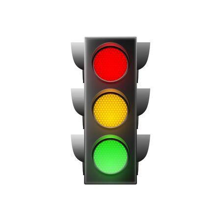 Illustration for Traffic light isolated on white background. Vector illustration  - Royalty Free Image