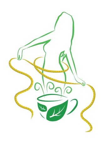 Tea for weight loss  Vector illustration