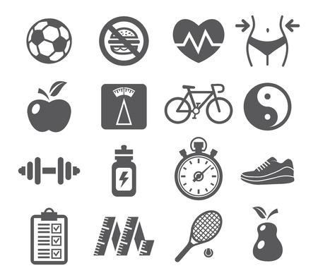 Ilustración de Health and Fitness icons - Imagen libre de derechos