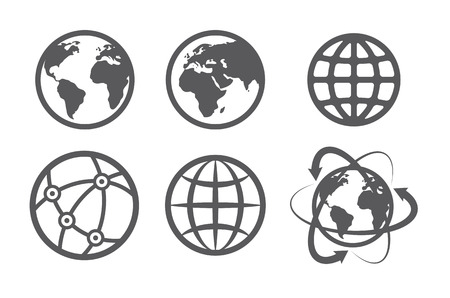 Illustration for Globe earth icons set on white background - Royalty Free Image