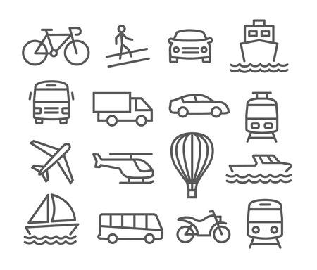 Illustration pour Gray Transport line  icons on white background - image libre de droit
