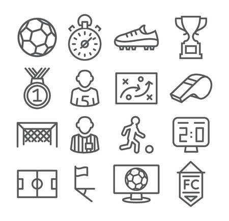 Ilustración de Soccer Line Icons Gray illustration on white - Imagen libre de derechos