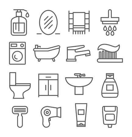 Gray Bathroom line icons on white background