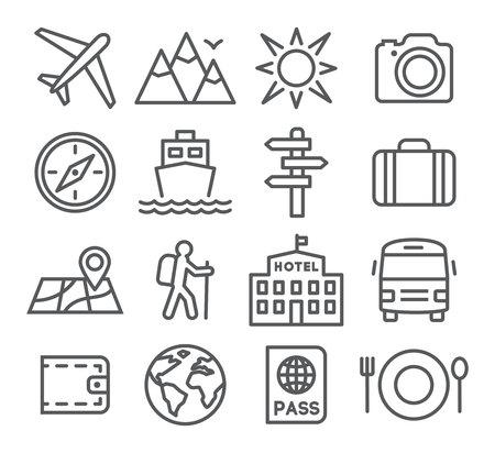 Illustration pour Travel and tourism icon set in trendy linear style - image libre de droit