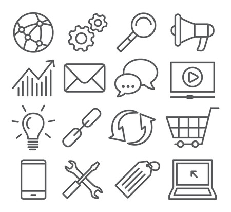Illustration for Gray SEO Line Icons on white background - Royalty Free Image