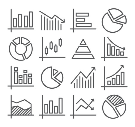Gray Diagram and Graphs Line Icons on white