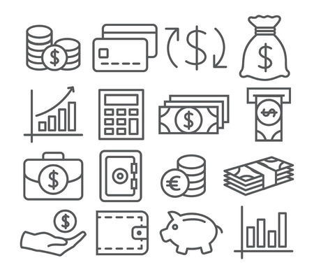 Illustration pour Gray Money Line Icons on white background - image libre de droit