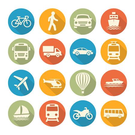 Ilustración de Colorful Transport set icons on white background - Imagen libre de derechos