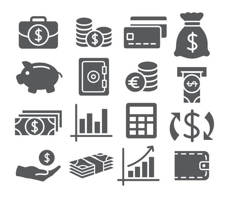 Illustration pour Gray Money Icons on white background - image libre de droit