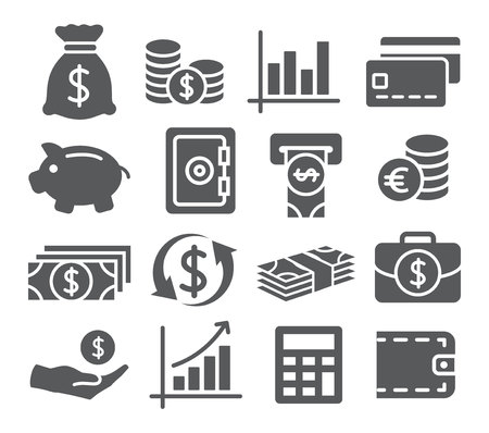 Illustration pour Gray Money Icons Set on white background - image libre de droit