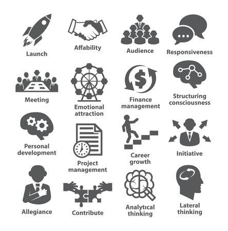 Illustration pour Business management icons on white. - image libre de droit