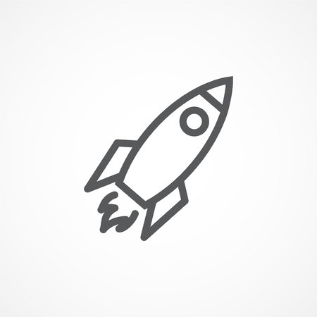 Illustration pour Gray Rocket line icon on white background - image libre de droit