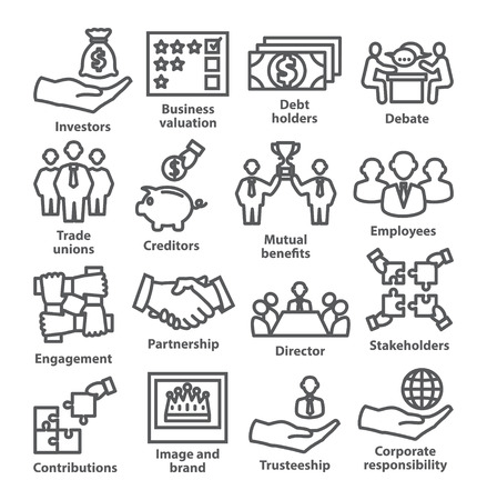 Ilustración de Business management line icons Pack - Imagen libre de derechos