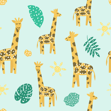Illustration for Childish seamless pattern with cute giraffe. Creative texture for fabric, textile - Royalty Free Image