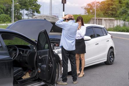Photo pour Upset of both drivers after Traffic car Accident - image libre de droit