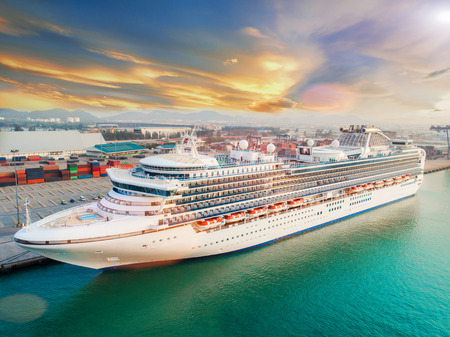 Photo pour Star cruise passenger ship berthing in an international port for transit the passenger tourist visit ashore city life - image libre de droit