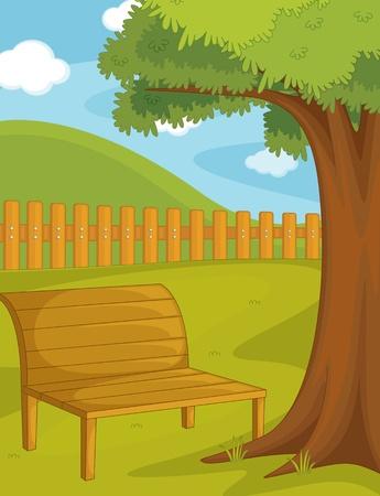 Illustration pour Illustration of  a bench on white - image libre de droit