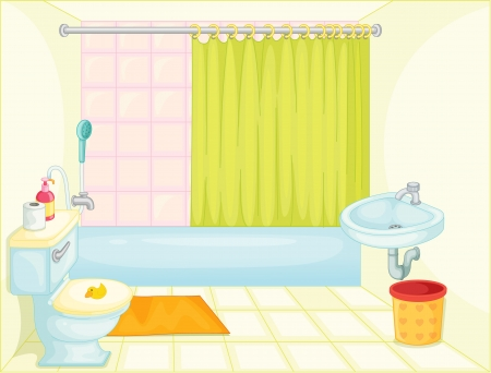 illustration of bathroom on white