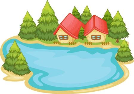 Illustration pour Illustration of nature cabins on white - image libre de droit