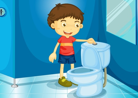 Illustration of a boy in a bathroom