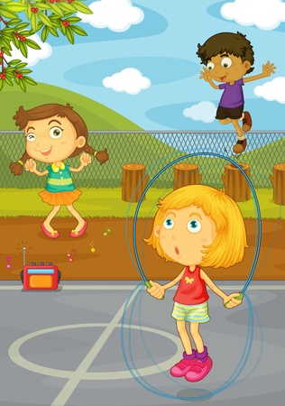 Illustration of kids playing in the yard