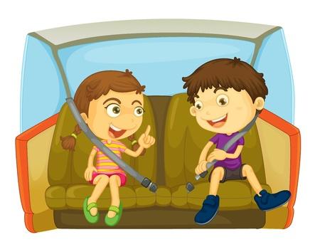 Illustration pour cartoon of kids in a car - image libre de droit