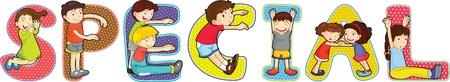 illustration of cartoon alphabets on white