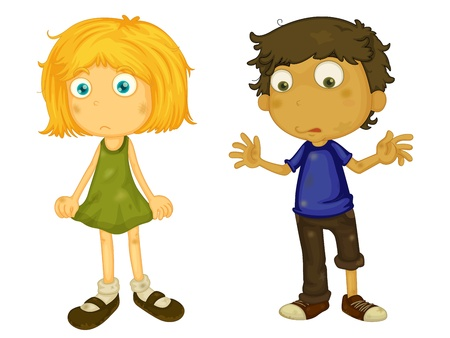 Illustration of dirty boy and girl