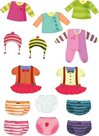 illustration of various apparel on white